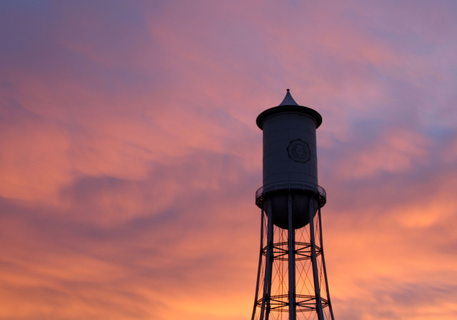 Water Tower and Morning Clouds