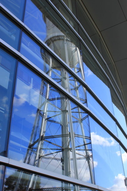Reflection of Marston Water Tower