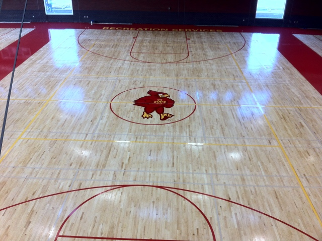 New logo on center court at State Gym