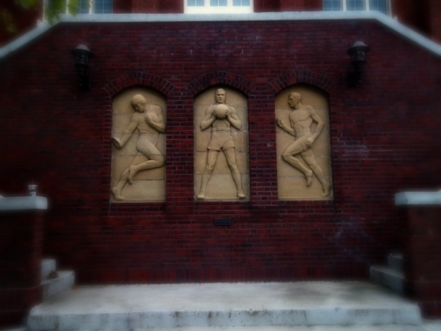 wall sculptures outside State Gym