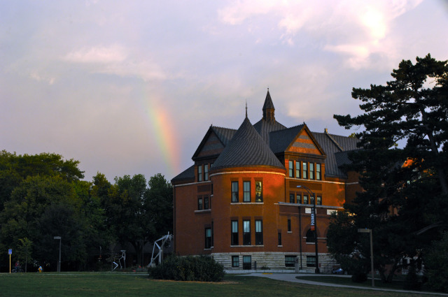 Rainbow rising over Morrill