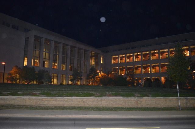 Moon aligned with Gerdin Business Building