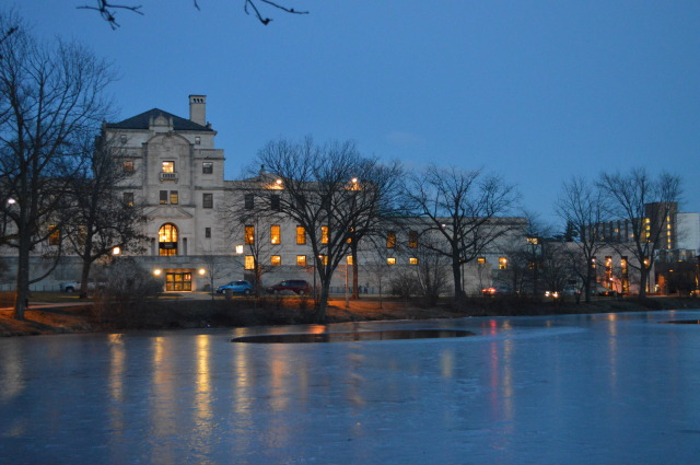 Memorial Union and Ice : Reflection of lights