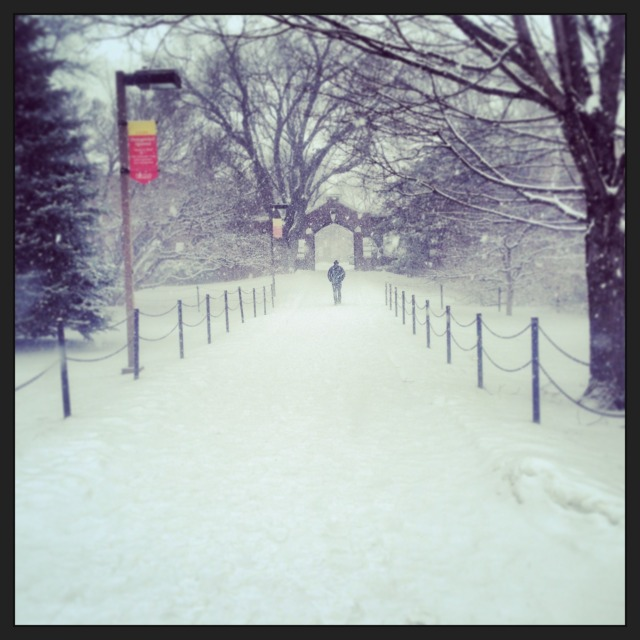 Snowy Tuesday outside Lago Hall