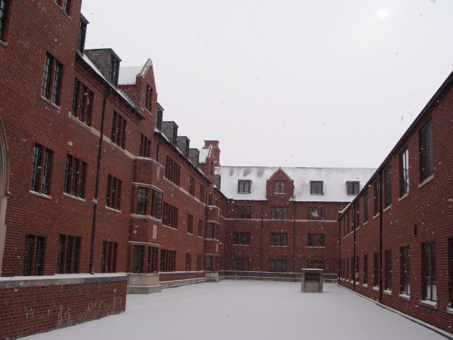 Snowfall in the Friley Hall courtyard,  Winter 2012