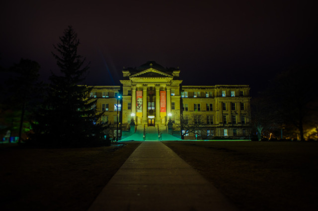 Beardshear hall at night