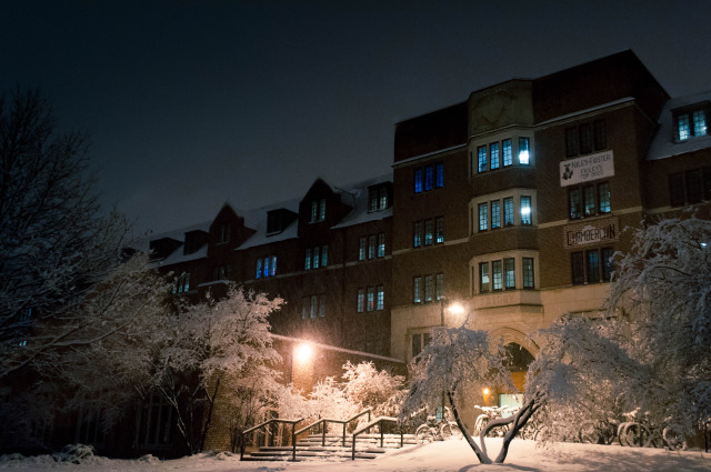 Friley Hall during snowfall