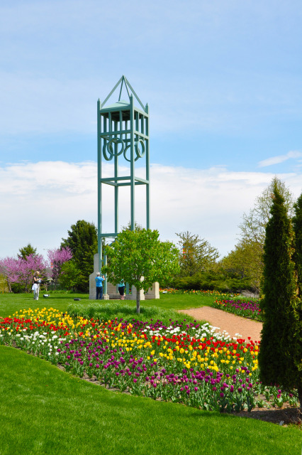 Campanile Garden at Reiman Gardens in the spring