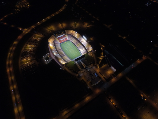 Jack Trice lit up at night!