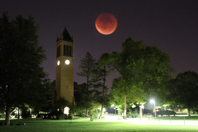 campanile with the red moon