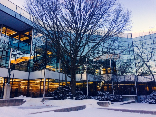 Winter evening at library