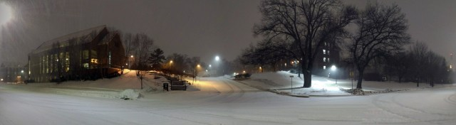 Panoramic of a Snowy Evening