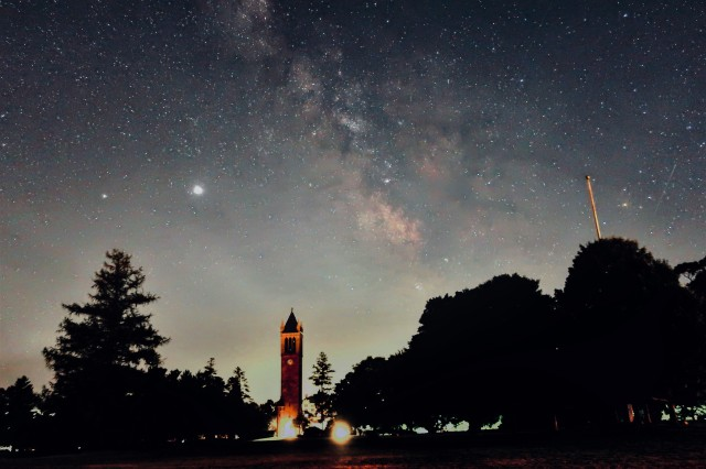 Campanile with the milky way in the background